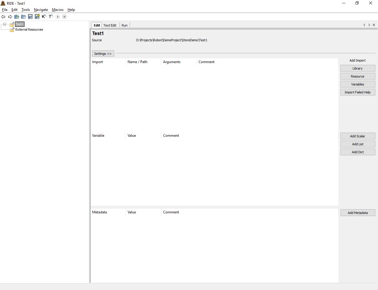 RIDE (Robot IDE) interface