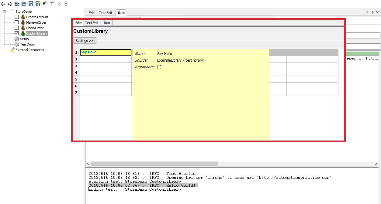 Demonstration of custom library and keyword usage in Robot Framework