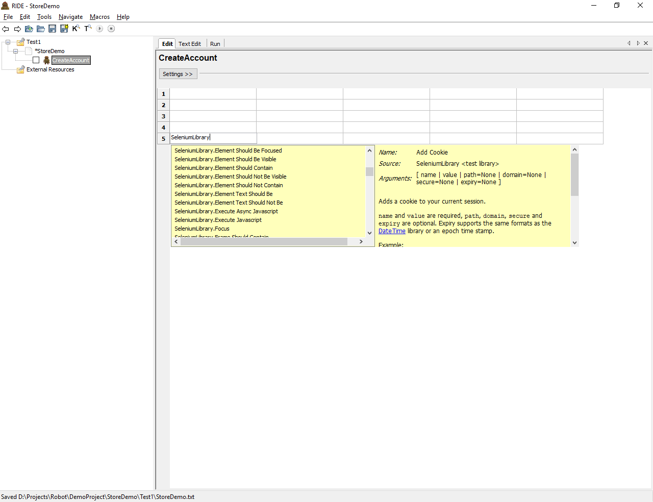 An empty test case showing the available keywords from the imported SeleniumLibrary