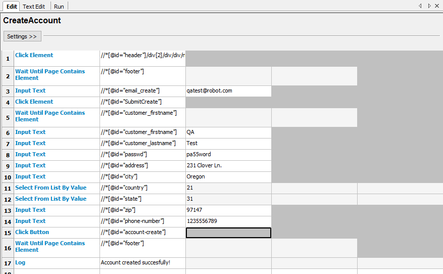 A sample test written in RIDE for creating an account to an e-commerce site
