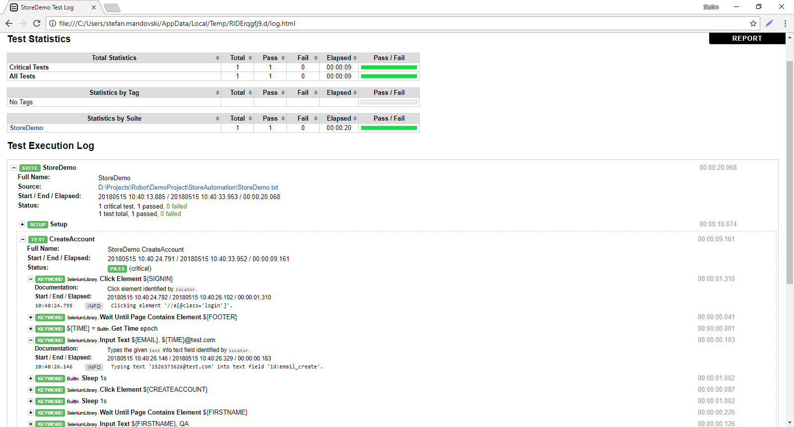 Robot log after a successful test run