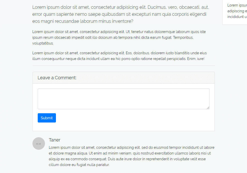 Um formulário para adicionar um comentário à postagem