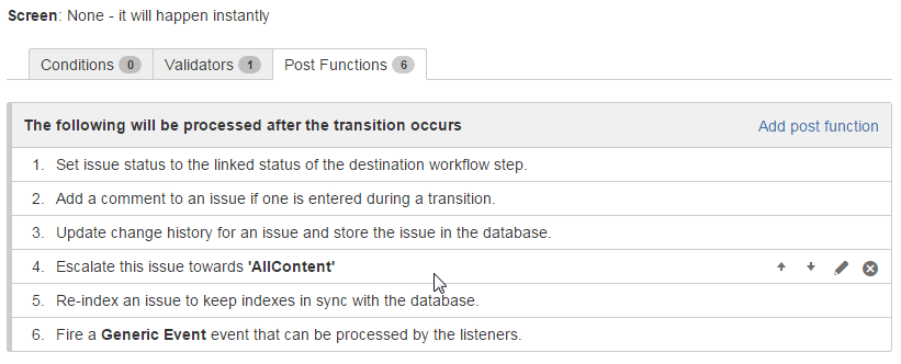 Adding post functions on transition