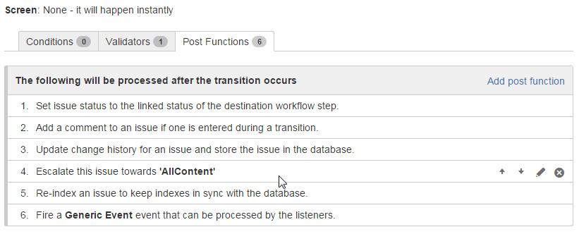Default Jira workflow post functions