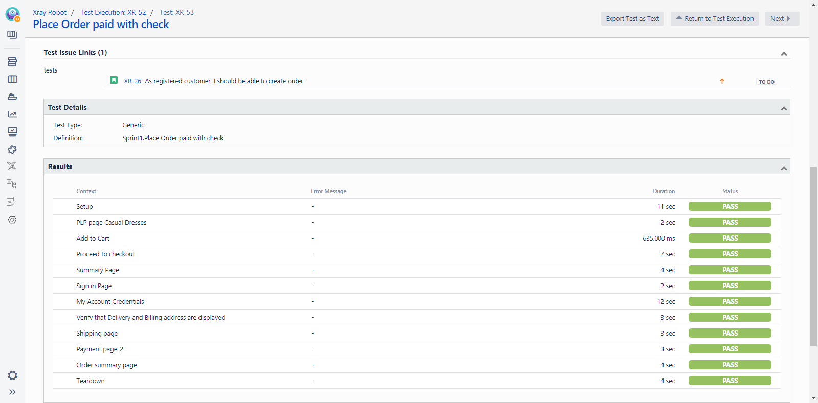 Execution details with keywords from the executed Robot test