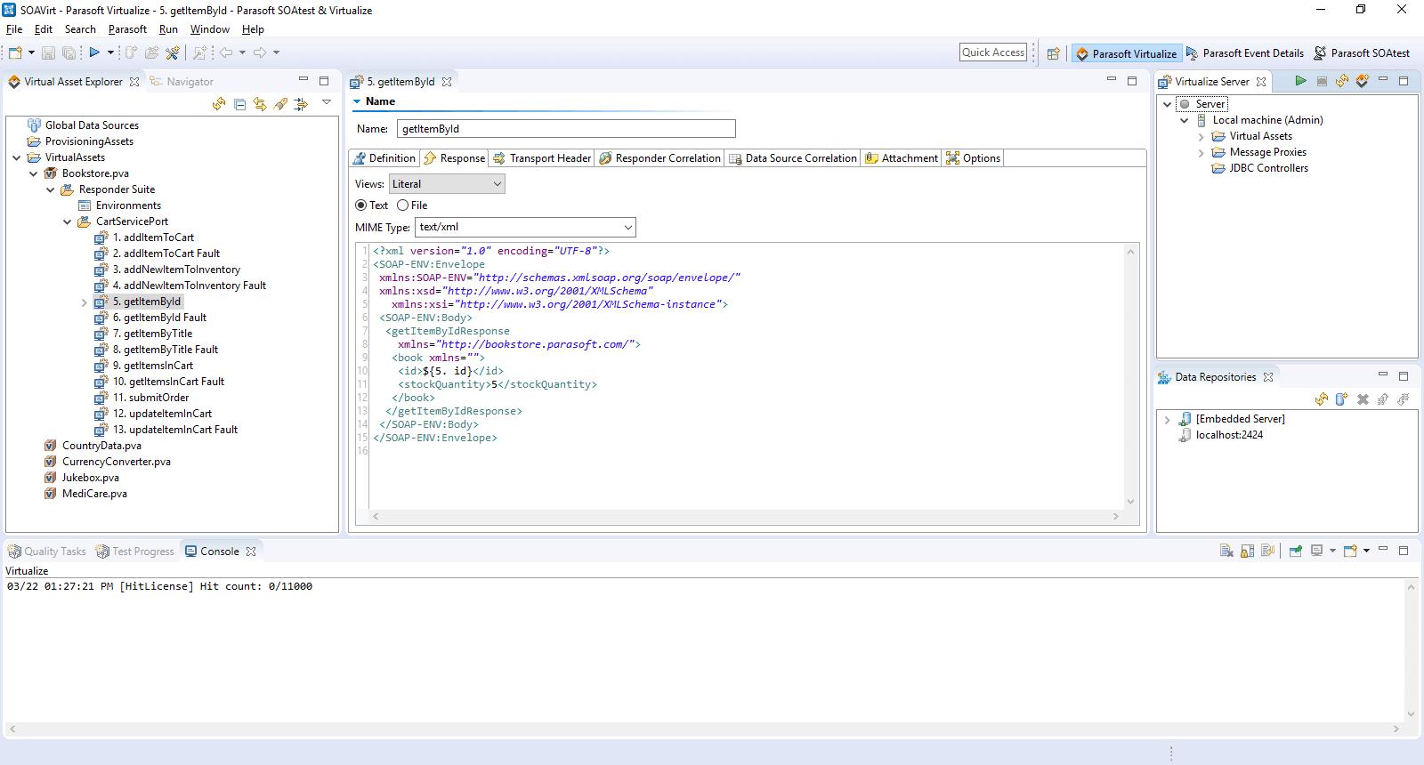 Parasoft Virtualize interface