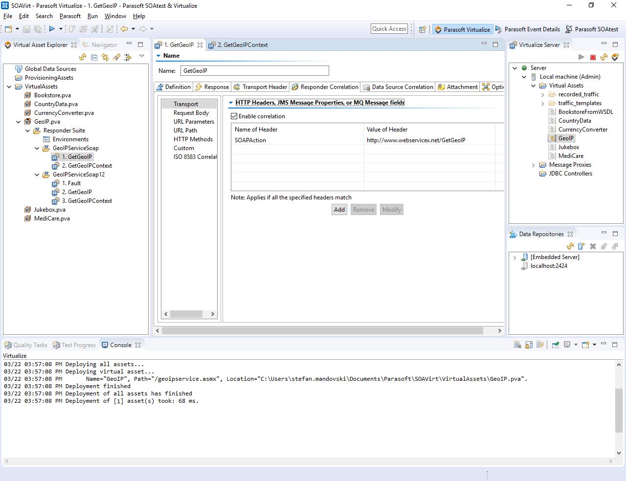 Parasoft Virtualize UI upon successful deployment of a virtual asset