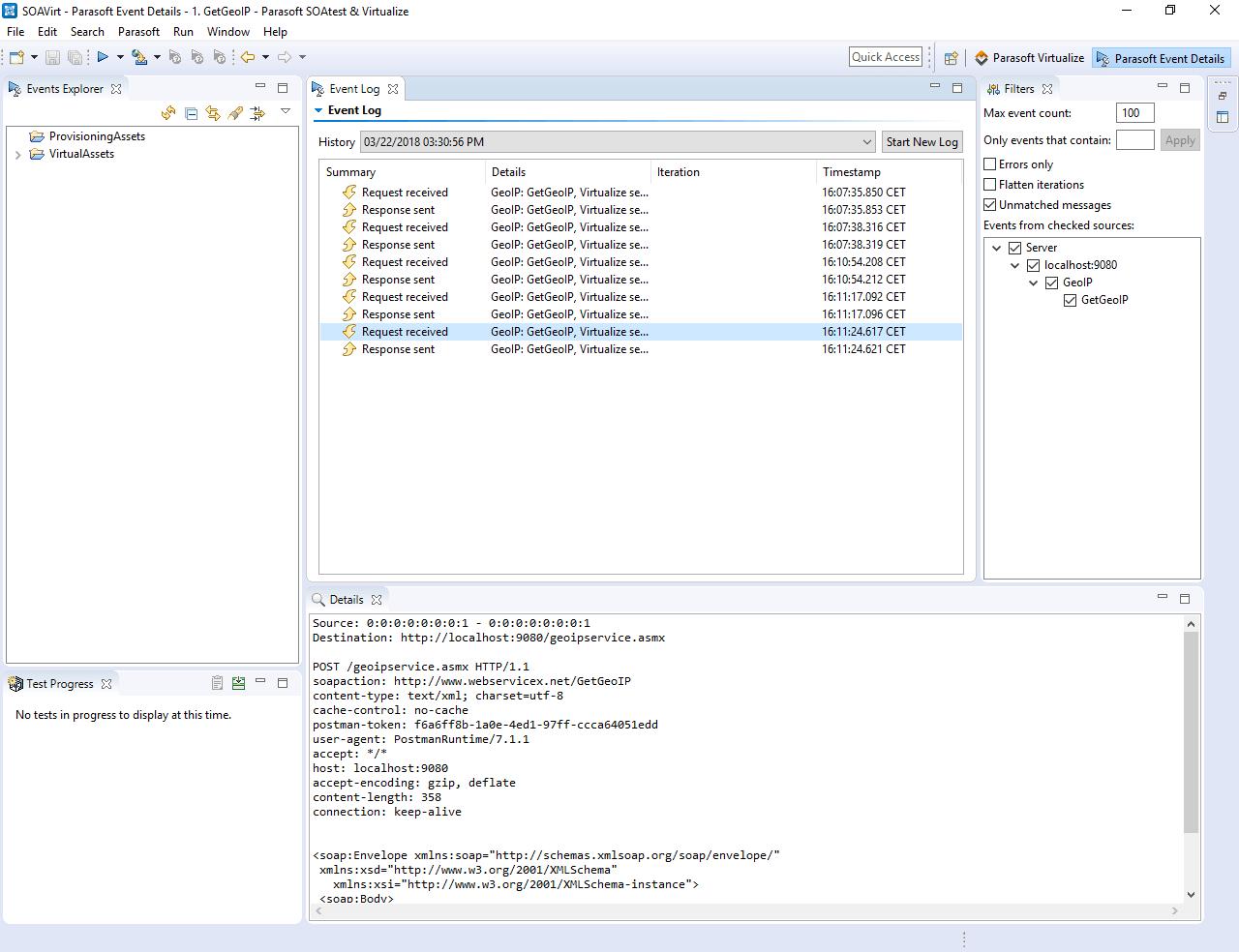 Virtual asset traffic log