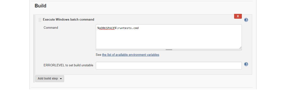The build tab
