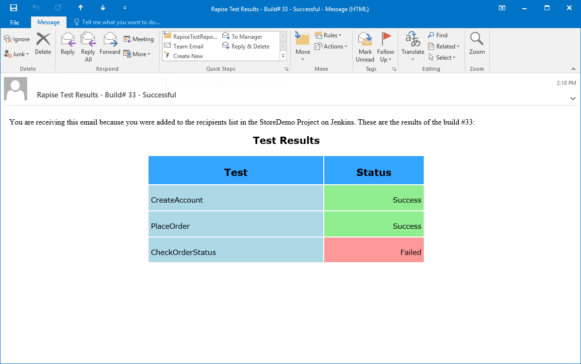E-mail with test results