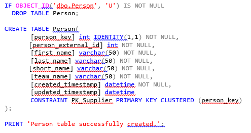 A command to create a table named Person in SQL server