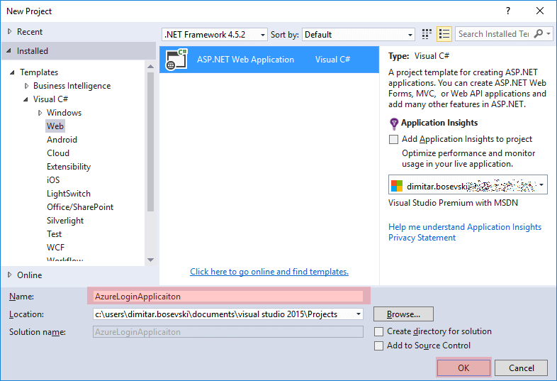 Creating a new ASP.NET Web Application