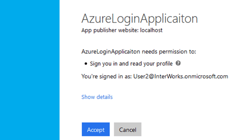 Log in into Azure Application